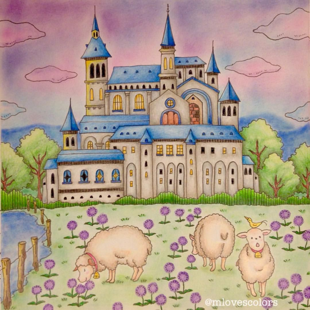Mlovescolors On Instagram Sheep Meadow At Lorenzo Castle Romanticcountry Romanticcountrycolorin Coloriage Romantic Country Coloring Book Coloriage Crayon