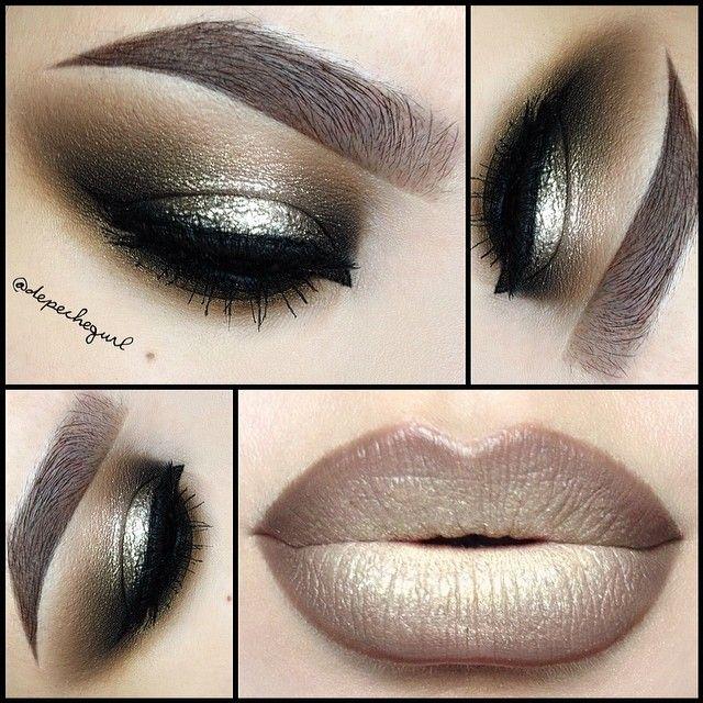 ojos ahumados negro con dorado ) hermosos makeup Pinterest