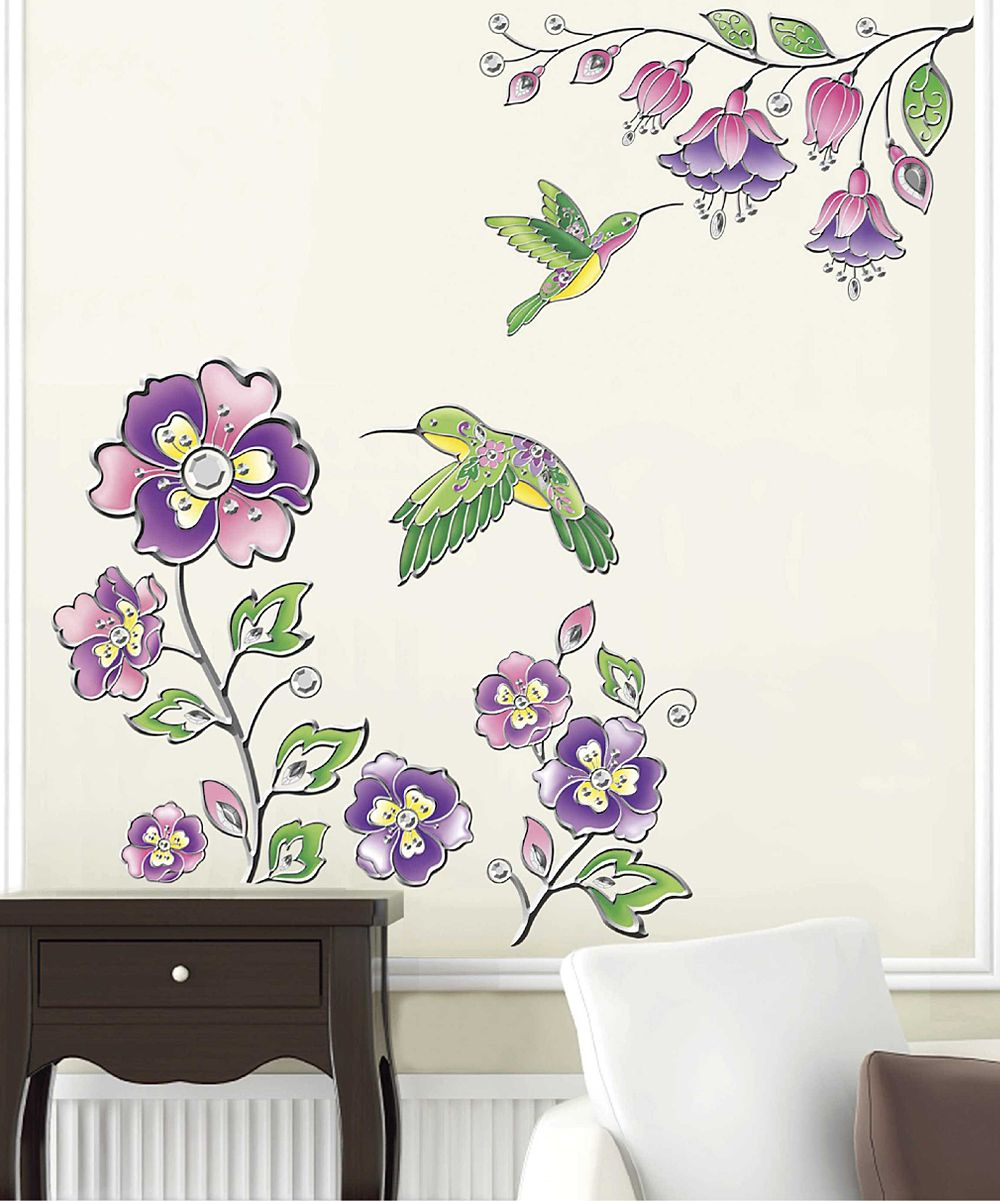 Floral & Hummingbird Wall Decal something special every
