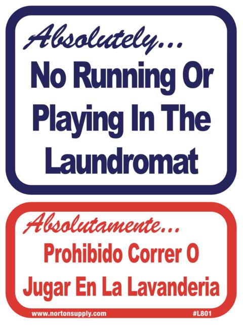 Sign No Running Prohibibido Correr Norton Supply Signs