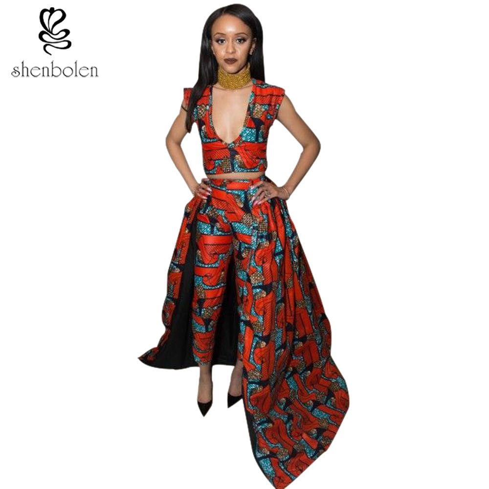 0066f0ba5f 2018 autumn African dresses for women ankara clothing sets wax batik  printing sexy short sleeve top pants suit free shipping