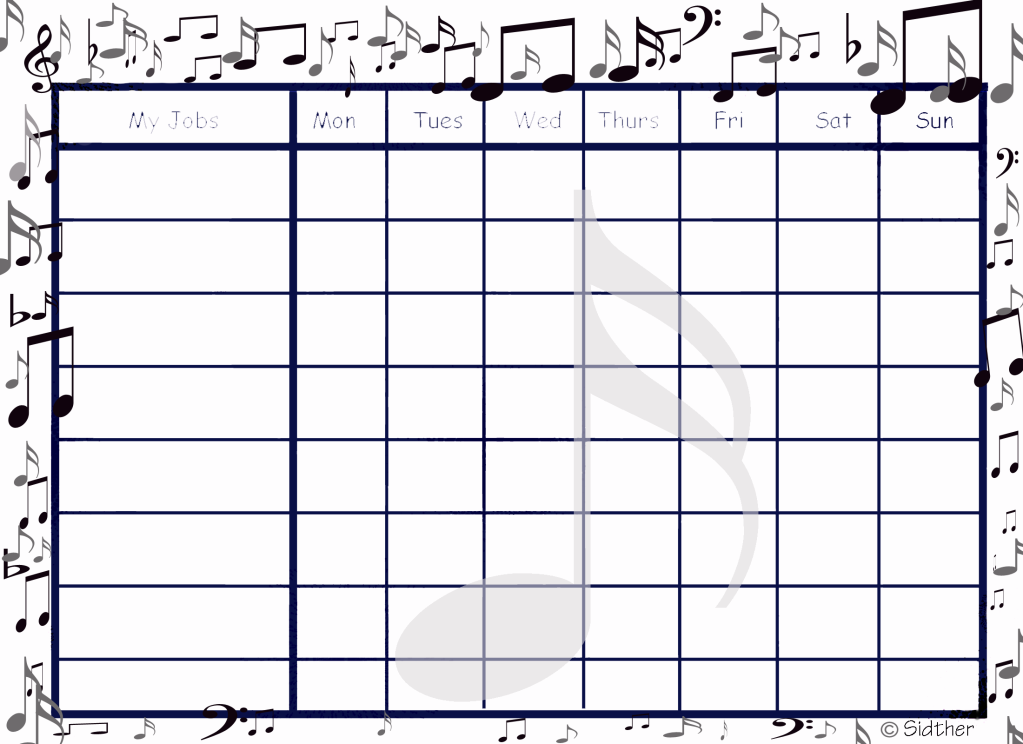 picture regarding Music Practice Chart Printable Free known as Free of charge Printable Musical Chore Chart Homeschool Preparing