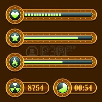 Game steampunk energy time progress bar icons set photo