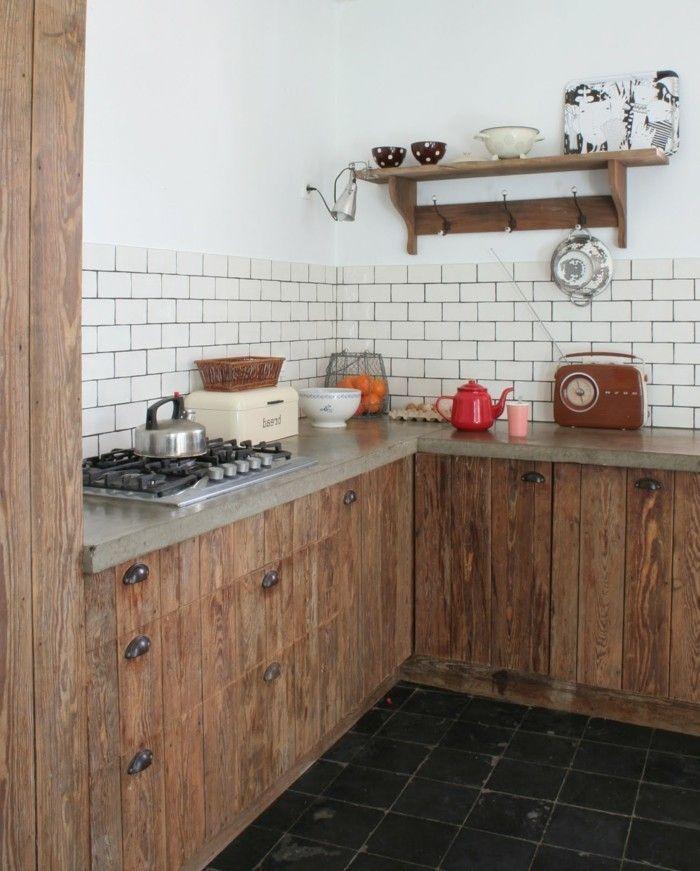 Küche in l form  küche l-form mit rustikalem look und schwarze bodenfliesen | Küche ...