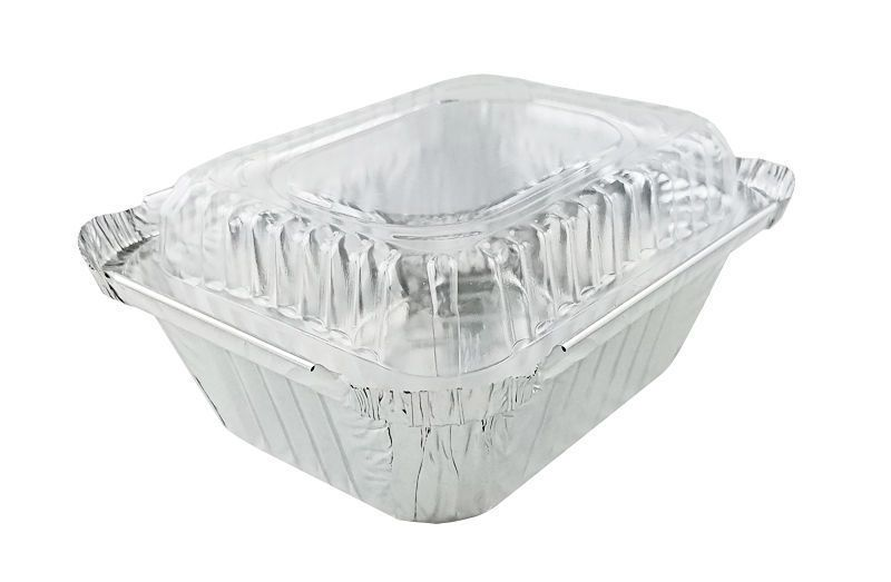Disposable Aluminum Foil 1 Lb Carryout Pan With Plastic Lid 220p