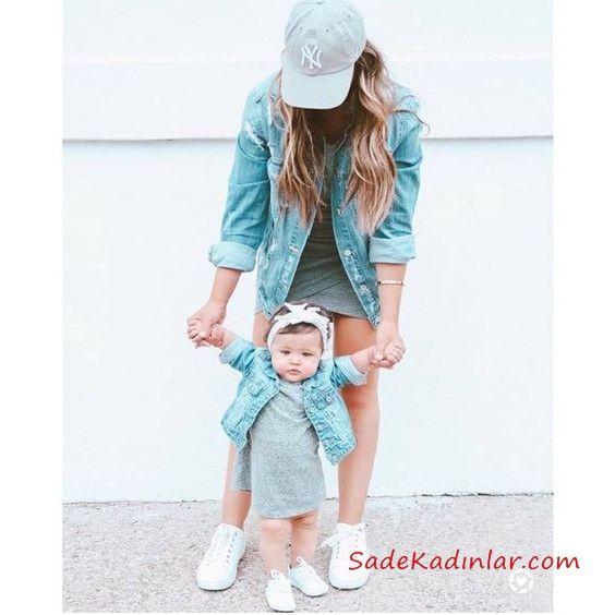 2019 Anne Kız Elbise Modelleri Gri Kısa Penye Kısa Kol Kot Ceket Kombinli