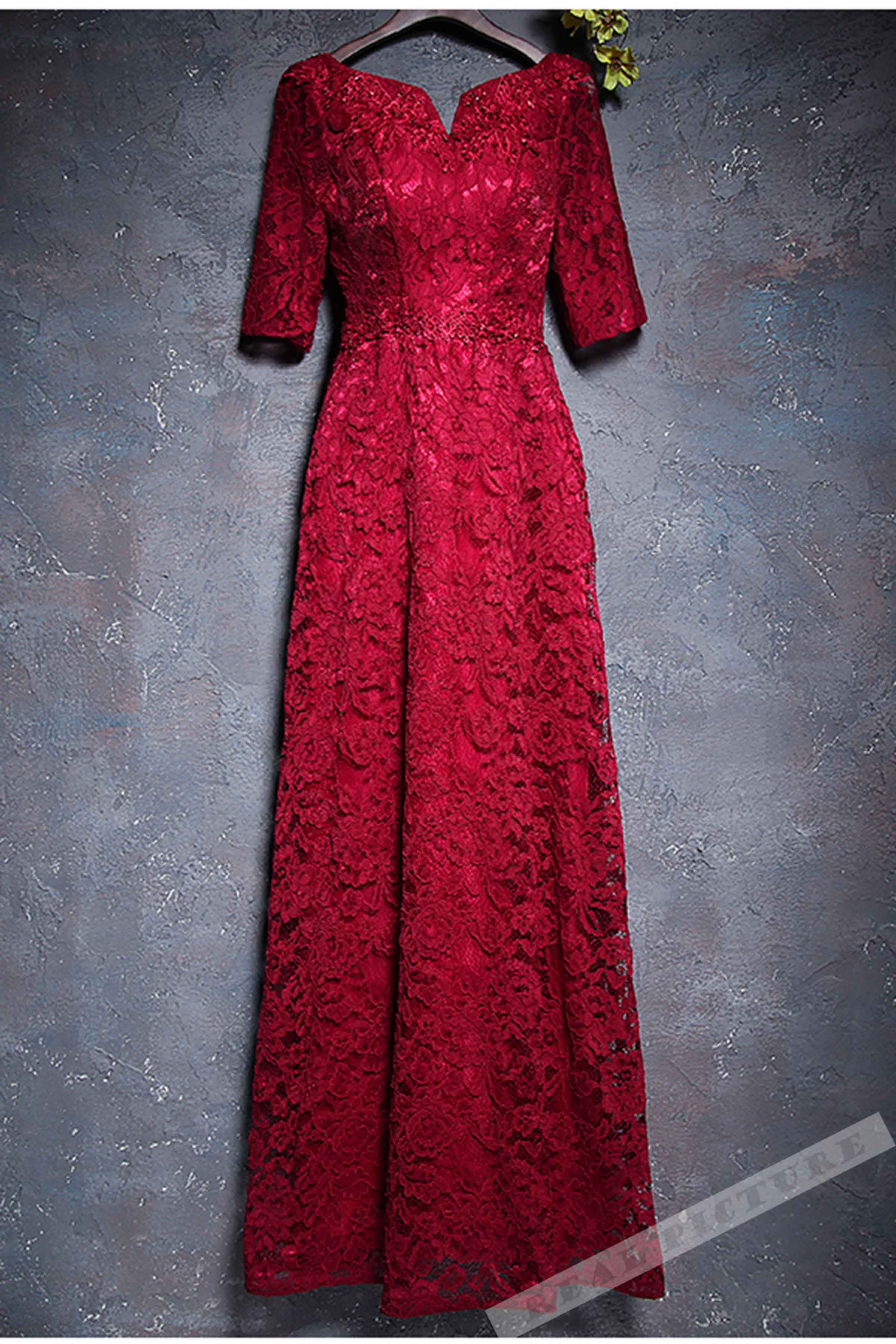 Red lace short sleeves long prom dresssimple evening dresses