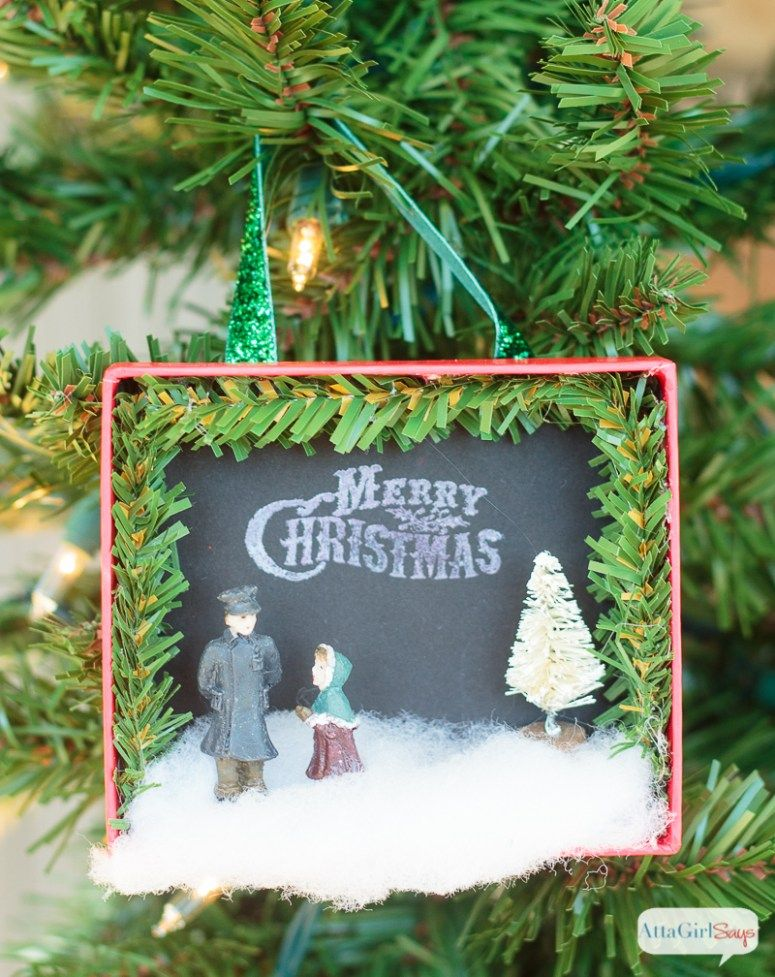 Make these darling shadowbox Christmas ornaments Amy