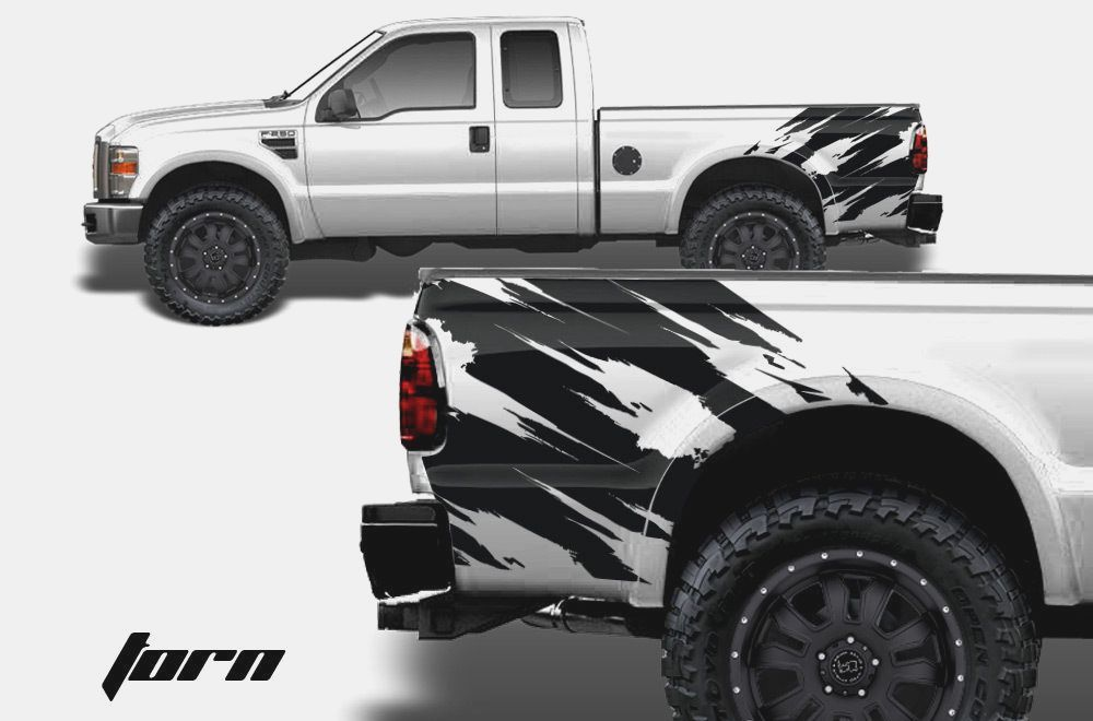4x4 Truck Bed Decal Set MATTE BLACK for Ford F-150 Super Duty and Ranger