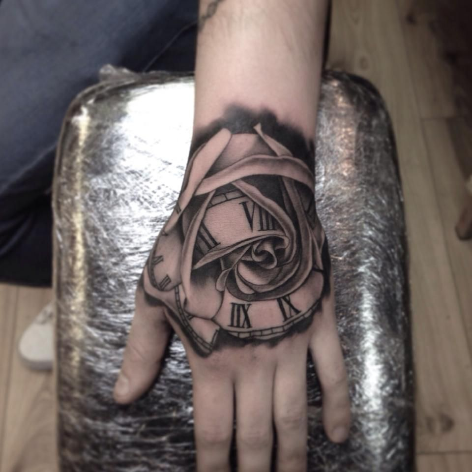 Grey Rose Flowers And Clock Tattoo On Right Half Sleeve By Travis Brown Hand Tattoos For Guys Clock Tattoo Hand Tattoos