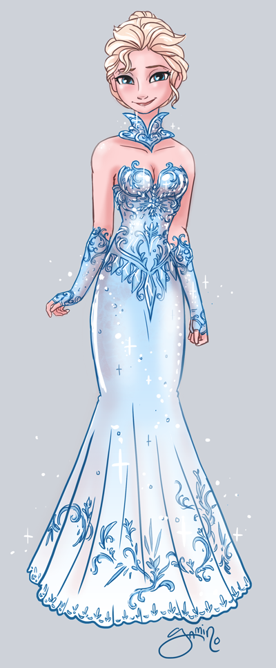 Elsa.  Source: http://yamino.deviantart.com/art/Elsa-s-Fancy-Dress-433111854
