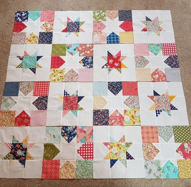Make 8 printed star blocks, each 12.5″ square.