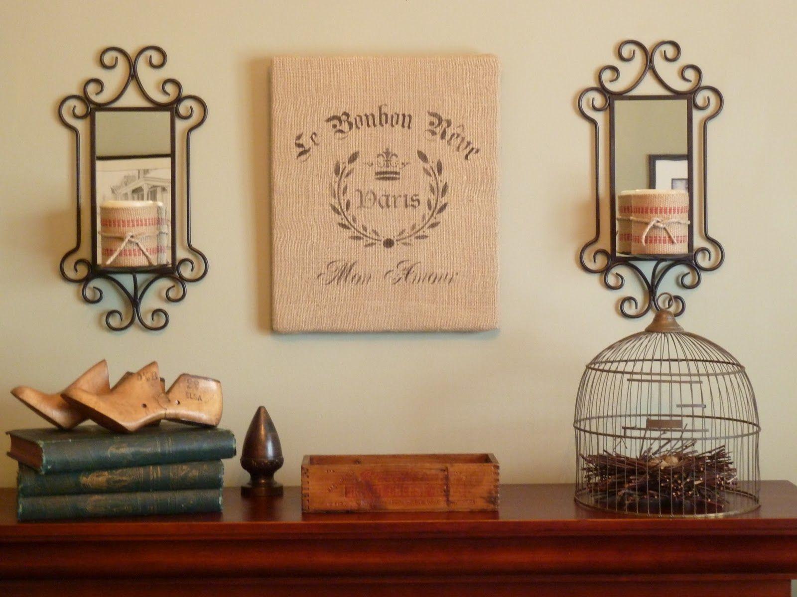 kates place stenciled french burlap wall hanging maison d co pinterest deco et maison. Black Bedroom Furniture Sets. Home Design Ideas