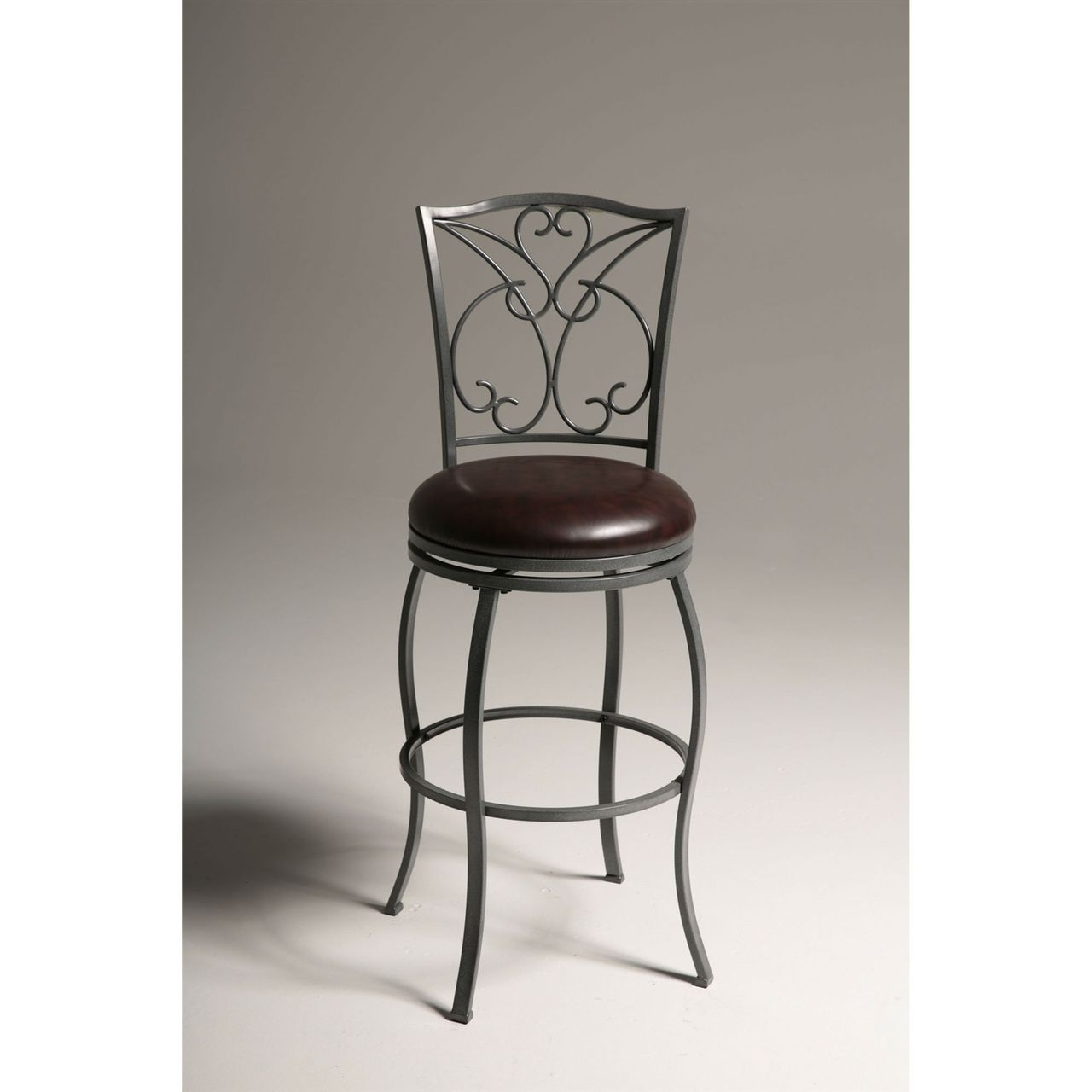 Grey Metal 30 Inch Barstool With Brown Faux Leather Swivel Seat Bar Stools Swivel Seating Swivel Bar Stools