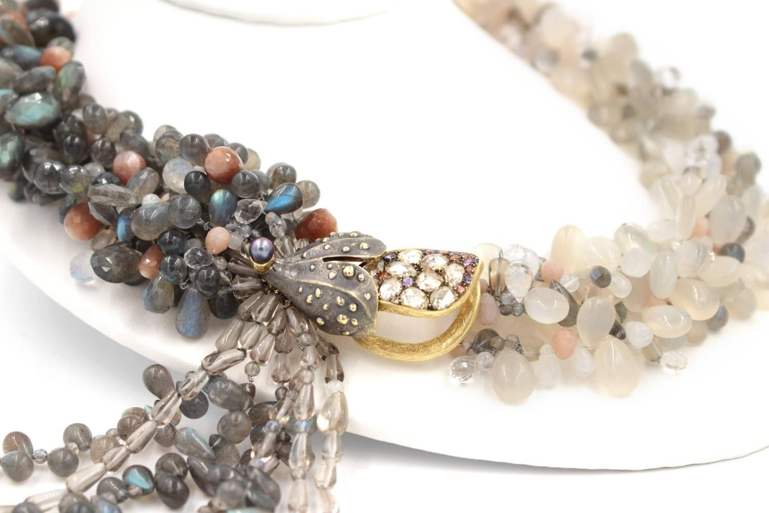 Labradorite Moonstone Sunstone Tanzanite Crystal Quartz Diamond Gold Necklace | From a unique collection of vintage more necklaces at https://www.1stdibs.com/jewelry/necklaces/more-necklaces/