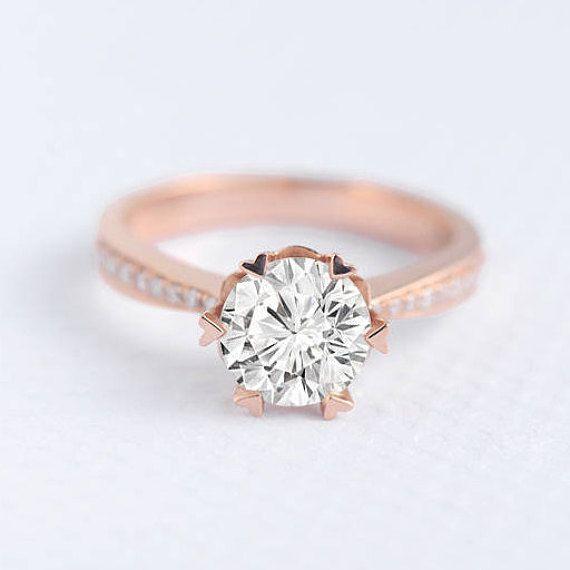 Moissanite Rose Gold Verlobungsring für immer eine einzigartige