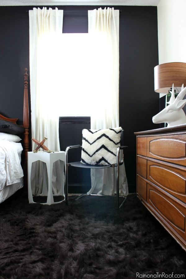 Black And White Bedroom Makeover With Masculine Vintage Touches