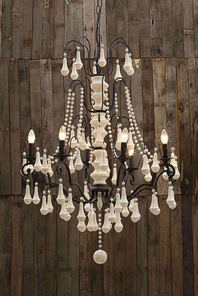 Farmhouse Chandelier With Wood Beads Cc Da1892 549 00 The Painted Cottage Vintage Furniture