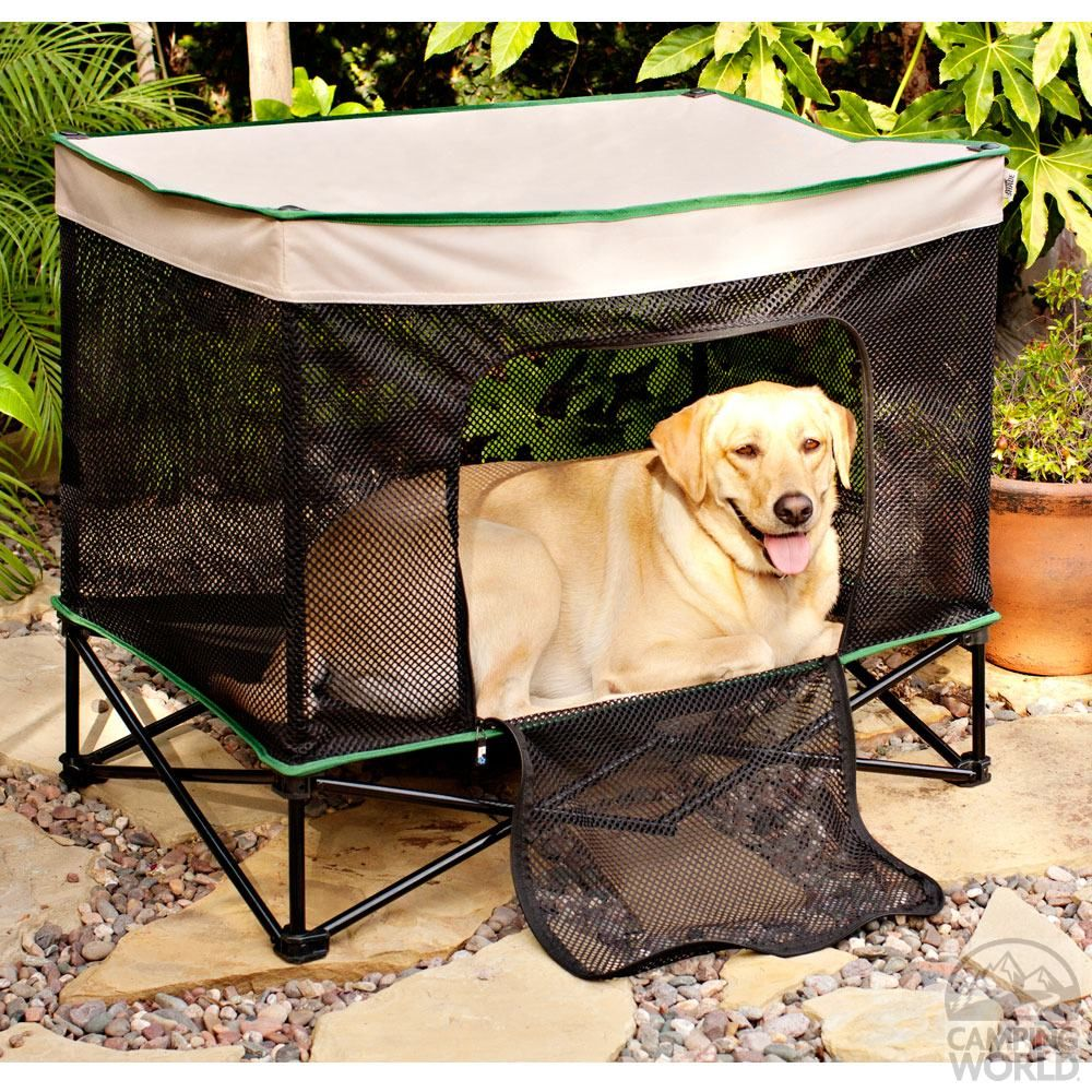 Neat! An onthego crate/tent/bed/shade for the pups