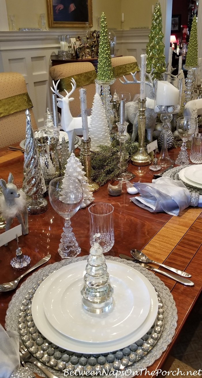 Green White Silver And Crystal For An Elegant Table Setting Holiday Table Settings Holiday Table Settings Elegant Christmas Table Centerpieces