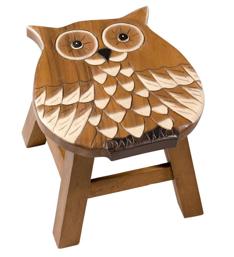 Hand Carved Wooden Owl Stool Baby Boy S Woodland Room