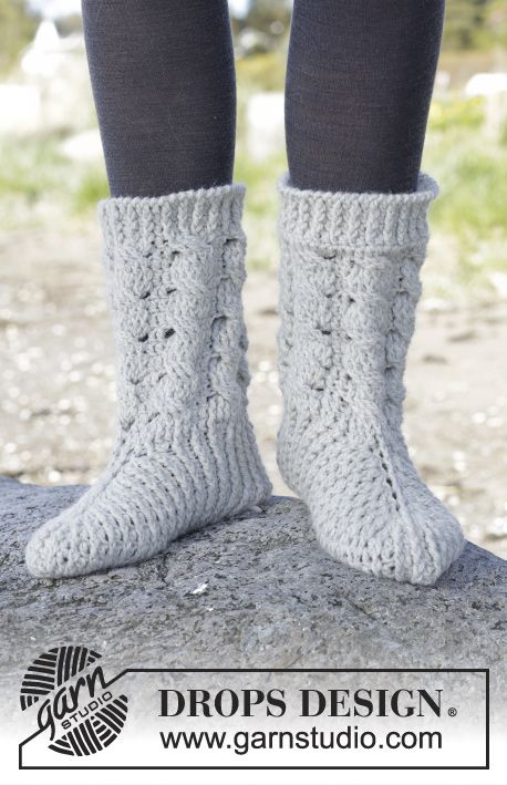 Snowdrift Socks - Crochet DROPS slippers with cables in \