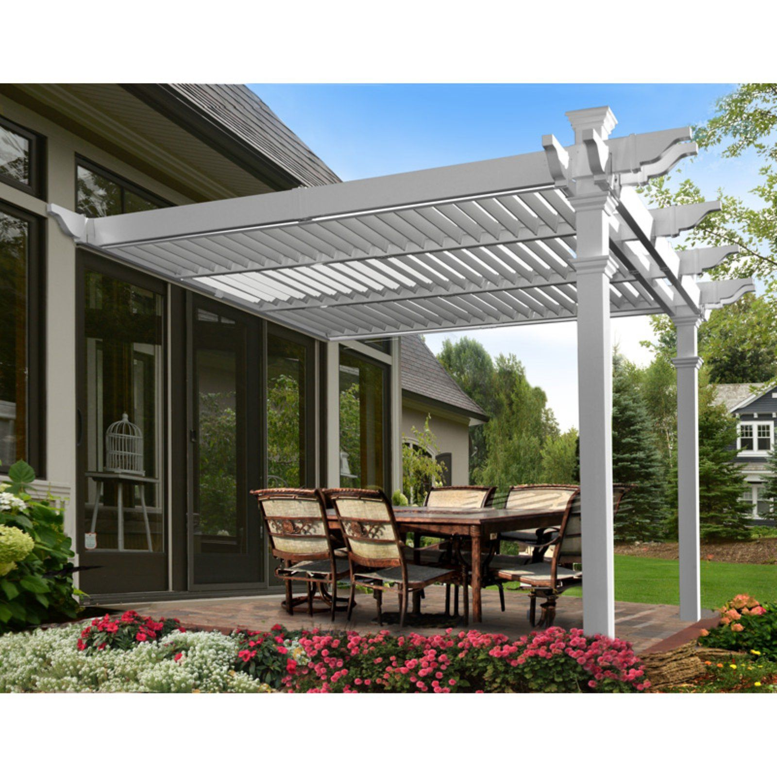 Elysium 12 X 12 Attached Louvered Vinyl Pergola White Walmart Com In 2020 Pergola Pergola Plans Louvered Pergola