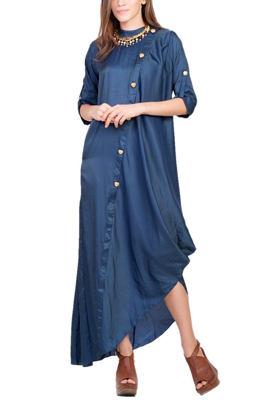 Fashion designer dresses dark royal blue cowl dress with heart