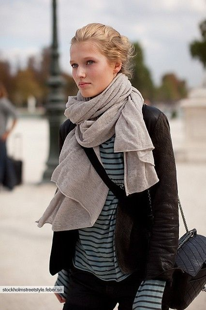 Cool. Gray scarf.