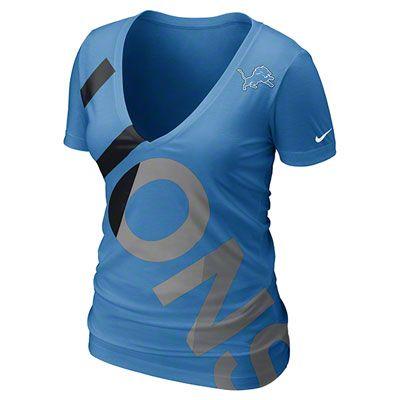 Nike NFL Detroit Lions Off Kilter Women's V-Neck Tee Shirt