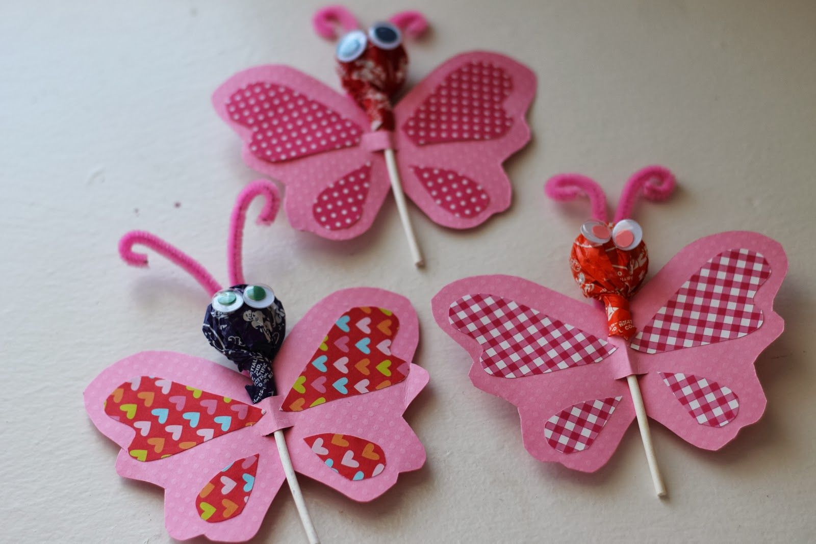 Valentine Crafts for kids and toddlers.  butterfly lollipop valentines. perfect handmade valentines for the little ones
