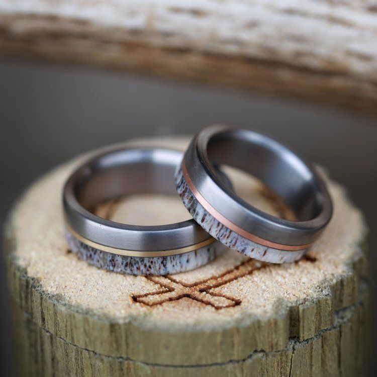 TANNER MATCHING SET OF ELK ANTLER WEDDING BANDS WITH YELLOW GOLD