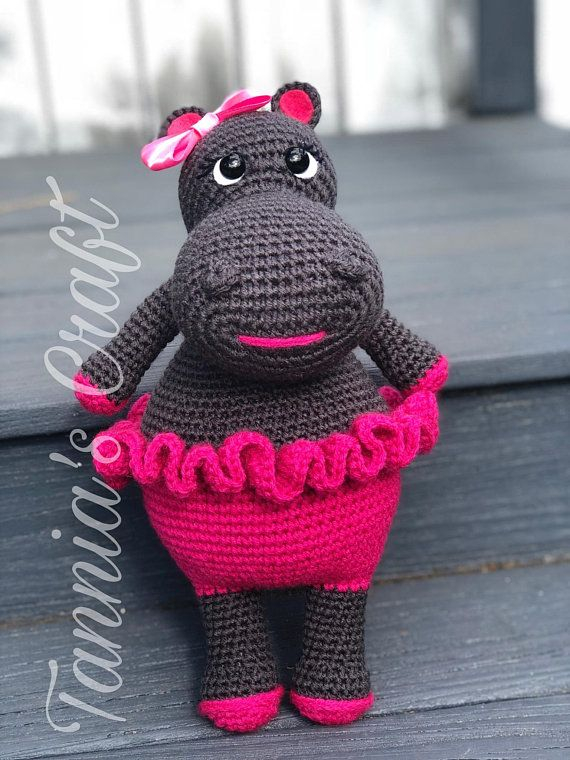 Amigurumi Girl Hippo, Crochet Animal, Stuffed animal, Handmade Hippo ...