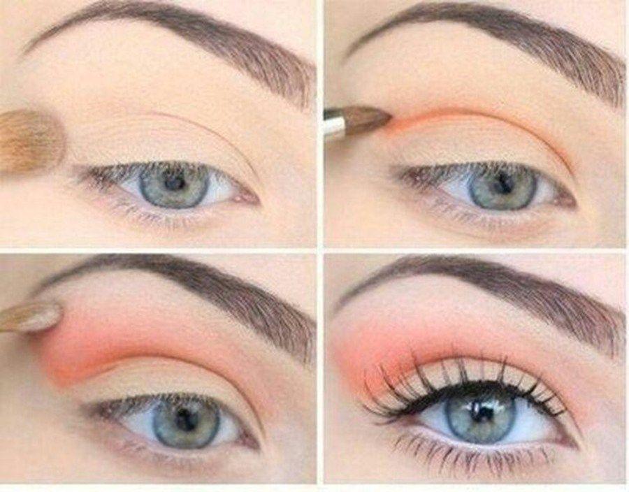 Eye Makeup Pinkorange Crease Pastel Waterline And Dark Lashes