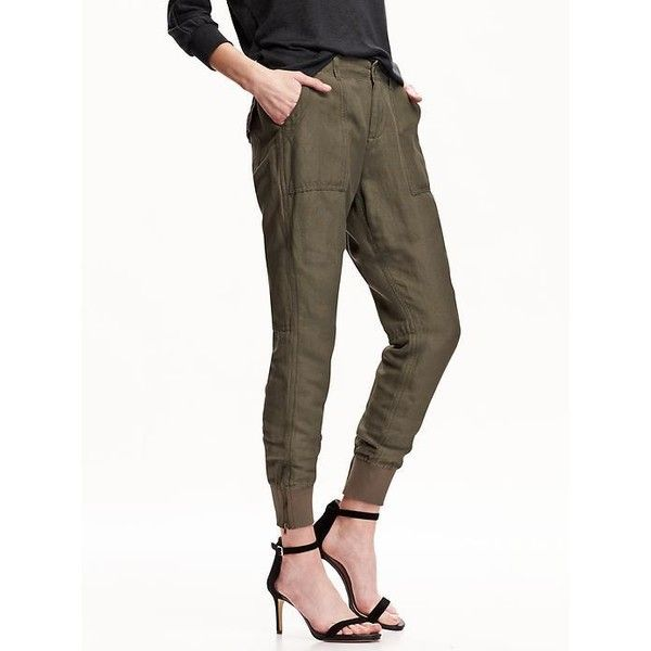 a412cbde9e56ce Old Navy Womens Linen Blend Ankle Zip Joggers ($35) ❤ liked on Polyvore  featuring pants, frosted meadow, petite, zipper jogger pants, old navy pants,  ...