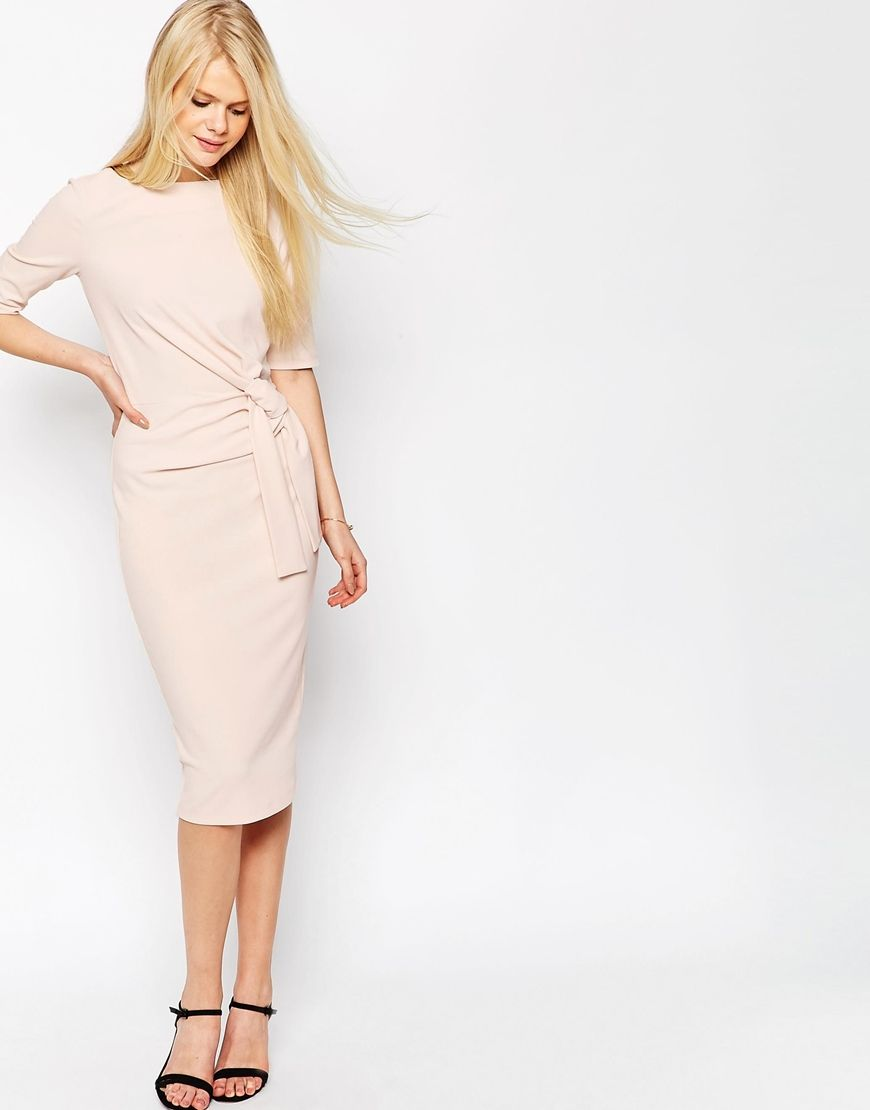 48b48a7222a2 Crepe Pencil Dress With Knot Detail   Fashion   Dresses, Pencil ...