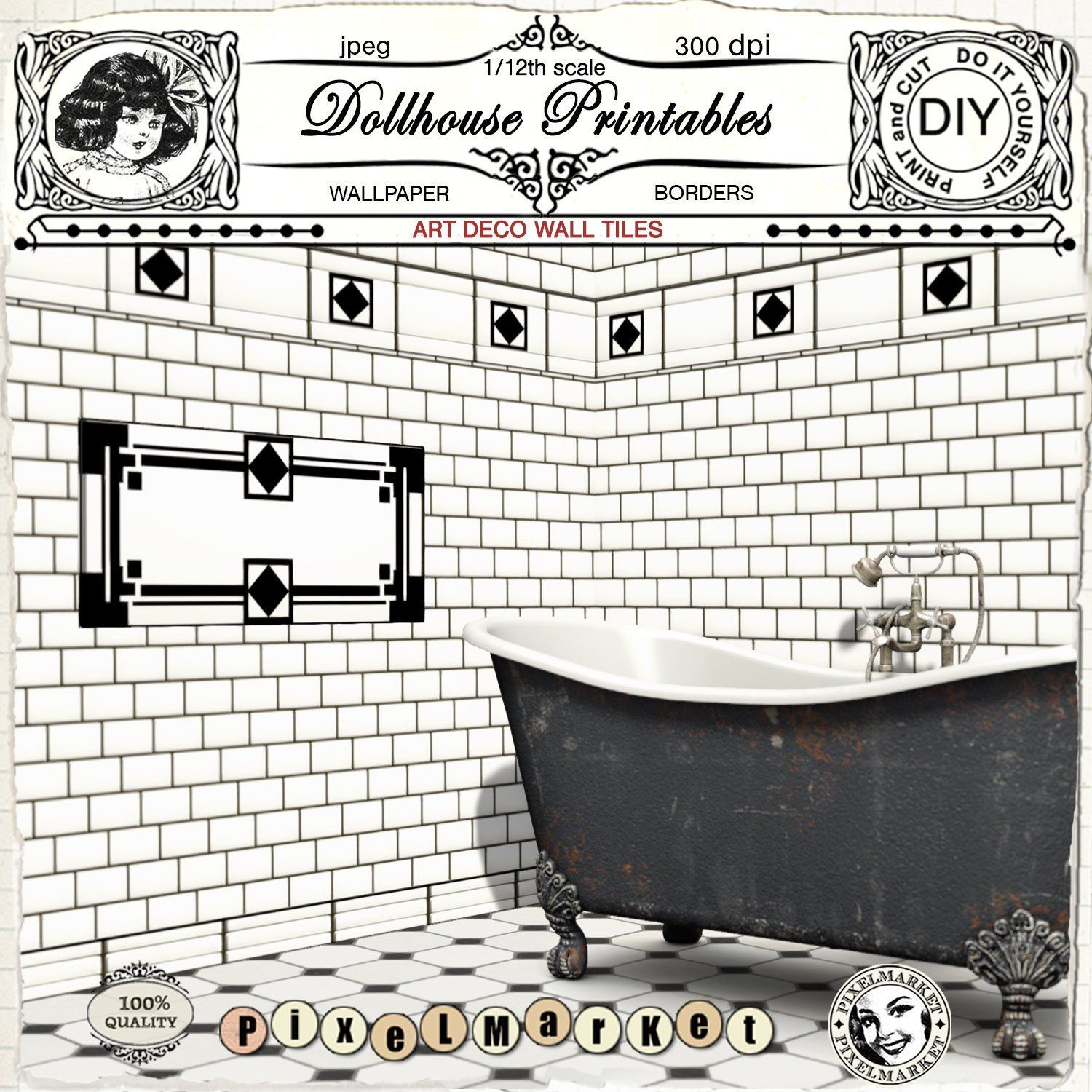 ***NEW*** Dollhouse Miniature Vintage Bathroom sign 1:12 FUNNY black and white