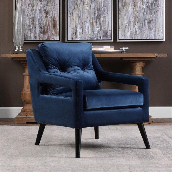 Open Arm Lounge Chair U2014 Navy Blue