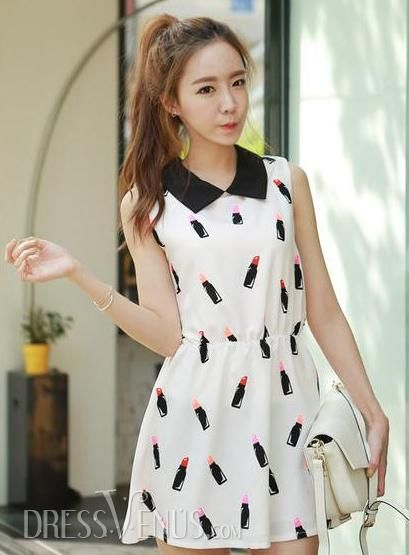 US$12.79 Glamorous Korean Style Slim Turndown Collar Retro Dress. #Day #Style #Retro #Korean