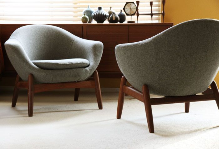 2 Danish Lounge Easy chair pods Teak MidCentury Modern Eames