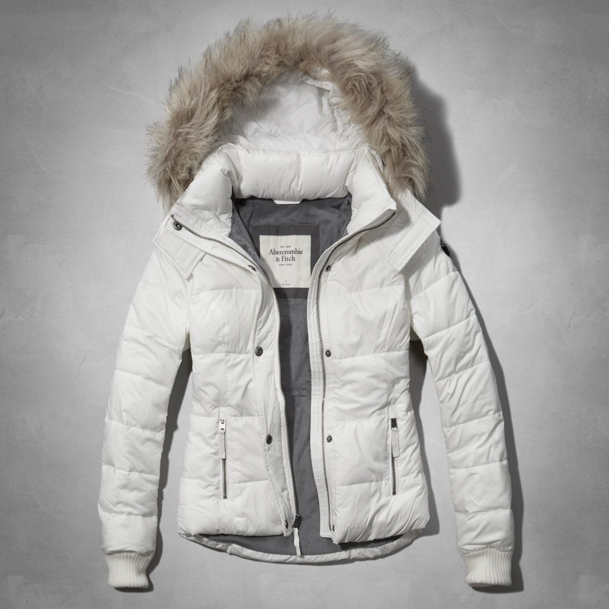 Womens A&F White Classic Puffer Jacket with Fur Trimmed Hood | Womens New  Arrivals | Abercrombie