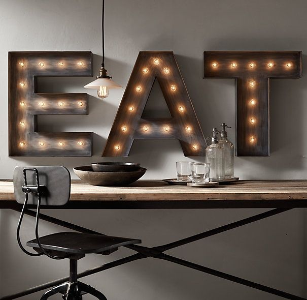 Industrial Style Light Up Letters: Vintage Marqee Letters - Restoration Hardware