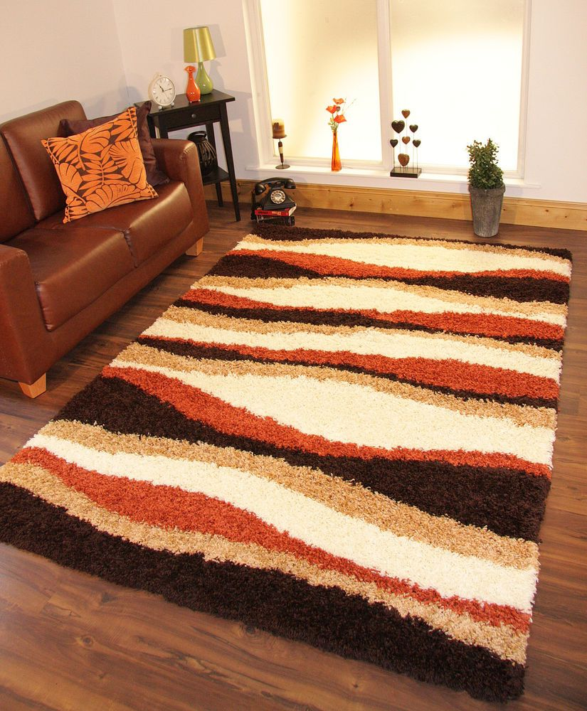 Brown and burnt orange living room - Room Shaggy Rug Thick Soft Warm Terracotta Burnt Orange Cream Brown