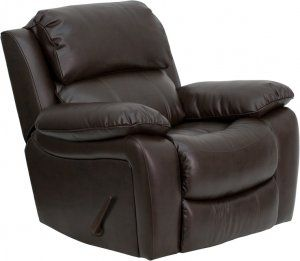 Flash Furniture Leather Rocker Recliner [MEN-DA3439-91-BRN-GG] SKU: MEN-DA3439-91-BRN-GG, MEN-DA3439-91-BK-GG, MEN-DA3439-91-BRN-EMB-GG, MEN-DA3439-91-BK-EMB-GG Plush Rocker Recliner Overstuffed Padded Seat, Back and Arms Lever Recliner Brown LeatherSoft Upholstery LeatherSoft is leather and polyurethane for added Softness and Durability CA117 Fire Retardant Foam Availability: 2 Color(s) Available Pricing: $519.99
