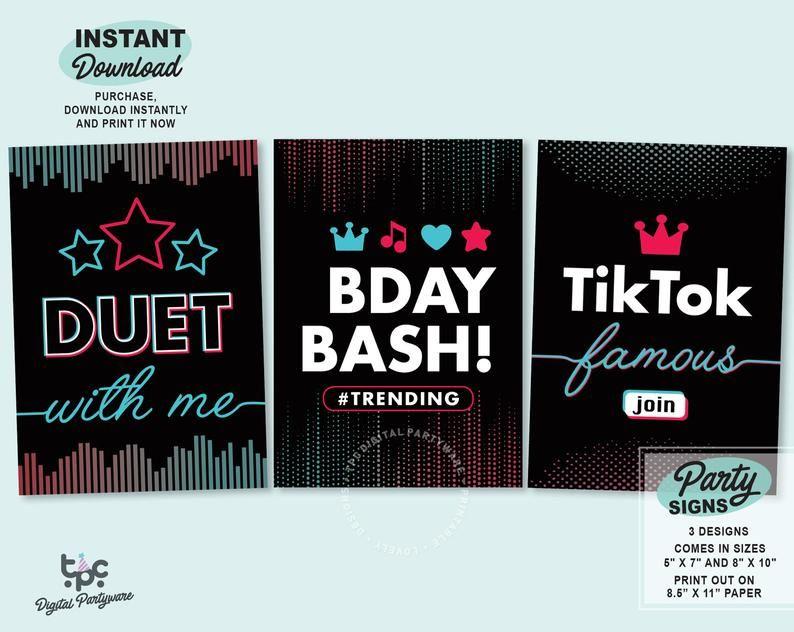 Tiktok Inspired Signs Printable Tiktok Party Sign Tik Tok Etsy In 2021 Party Signs Birthday Card Printable Printable Signs