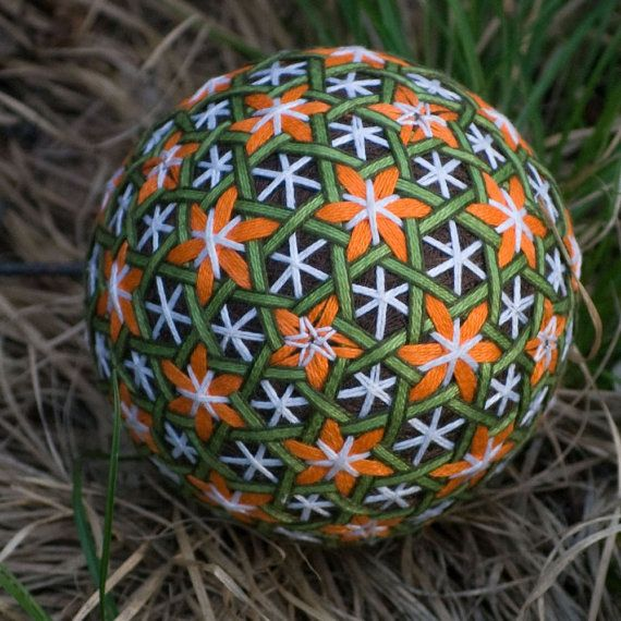 Flowers in the Woods temari ball by mfrid on Etsy, $25.00