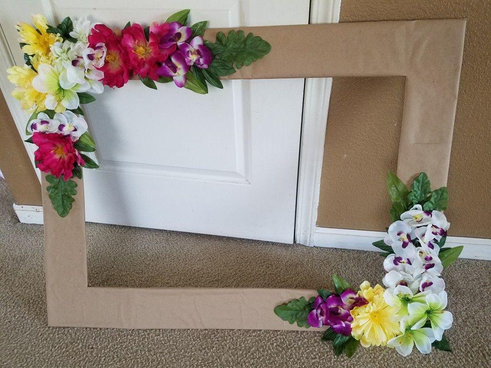 Luau hawaiian flowers #Frame #DIY Super easy and quick ...