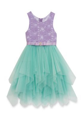 Rare Editions Purple Lace Cascade Dress Girls 4-6x