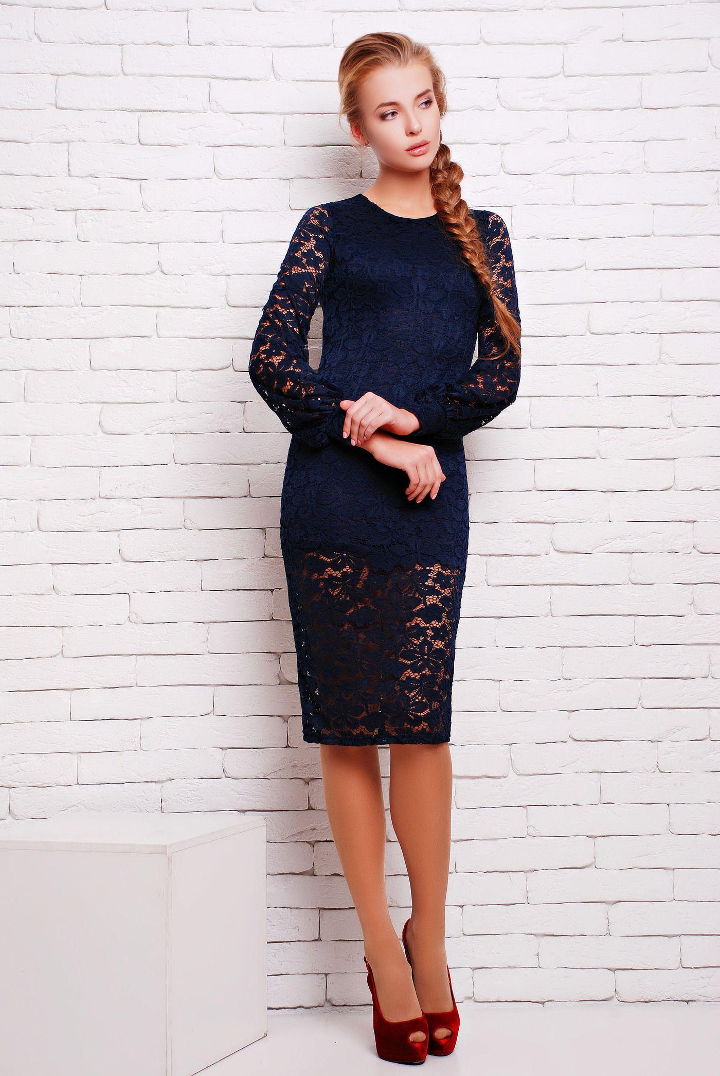 a40d66f6503edb3 Платье из синего гипюра с подкладкой СКАЙ - Однтонное платье из черного  качественного стрейч-гипюра