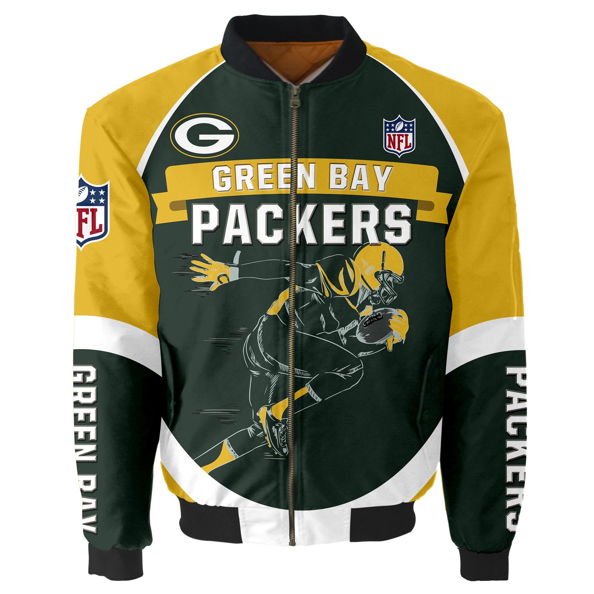 Green Bay Packers Bomber Jacket Men Women CottonPadded